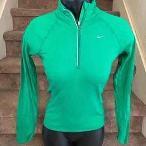 Nike Fit Dry Green zip pullover jacket women XS